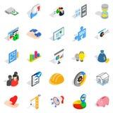 Icônes d'opérations bancaires de finances réglées, style isométrique illustration stock