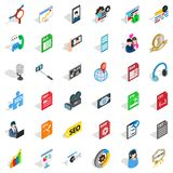 Icônes d'ordinateur de media réglées, style isométrique Images stock