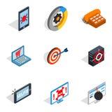Icônes d'ordinateur nomade réglées, style isométrique Images stock