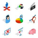 Icônes d'ordinateur portable réglées, style isométrique Photo libre de droits