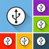 Icônes d'Usb avec la longue ombre Photo stock