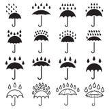 Icônes de baisses de parapluie et de pluie Illustration Stock