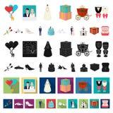 Icônes de bande dessinée de épouser et d'attributs dans la collection d'ensemble pour la conception Web d'actions de symbole de v illustration libre de droits