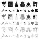 Icônes de bande dessinée de épouser et d'attributs dans la collection d'ensemble pour la conception Web d'actions de symbole de v illustration de vecteur