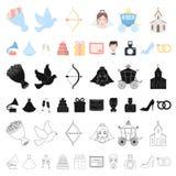 Icônes de bande dessinée de épouser et d'attributs dans la collection d'ensemble pour la conception Web d'actions de symbole de v illustration stock