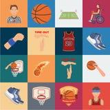 Icônes de bande dessinée de basket-ball et d'attributs dans la collection d'ensemble pour la conception Actions de symbole de vec illustration stock
