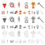 Icônes de bande dessinée de corps de sapeurs-pompiers dans la collection d'ensemble pour la conception Sapeurs-pompiers et Web d' illustration de vecteur