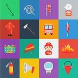 Icônes de bande dessinée de corps de sapeurs-pompiers dans la collection d'ensemble pour la conception Sapeurs-pompiers et Web d' illustration stock