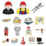 Icônes de bande dessinée d'architecture et de construction dans la collection d'ensemble pour la conception Actions de symbole de Photos stock