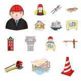 Icônes de bande dessinée d'architecture et de construction dans la collection d'ensemble pour la conception Actions de symbole de Photos libres de droits