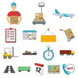 Icônes de bande dessinée de service de logistique dans la collection d'ensemble pour la conception Web d'actions de symbole de lo Image stock