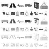 Icônes de bande dessinée de service de logistique dans la collection d'ensemble pour la conception Web d'actions de symbole de lo illustration stock