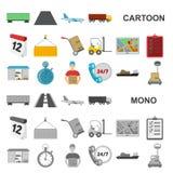 Icônes de bande dessinée de service de logistique dans la collection d'ensemble pour la conception Web d'actions de symbole de lo illustration de vecteur