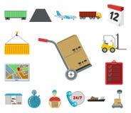 Icônes de bande dessinée de service de logistique dans la collection d'ensemble pour la conception Web d'actions de symbole de lo illustration libre de droits