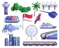Icônes de bande dessinée de Singapour réglées illustration de vecteur