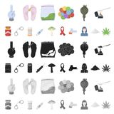 Icônes de bande dessinée de toxicomanie et d'attributs dans la collection d'ensemble pour la conception Web d'actions de symbole  illustration stock