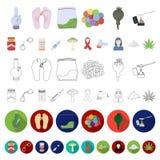 Icônes de bande dessinée de toxicomanie et d'attributs dans la collection d'ensemble pour la conception Web d'actions de symbole  illustration libre de droits
