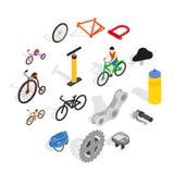 Icônes de bicyclette réglées, style 3d isométrique Photo libre de droits