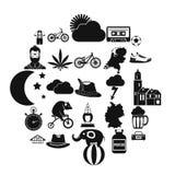 Icônes de bicyclette réglées, style simple illustration libre de droits