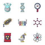 Icônes de biochimie réglées, style de bande dessinée illustration stock