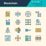 Icônes de Blockchain Collection remplie 36 de conception d'ensemble Pour prese Images libres de droits