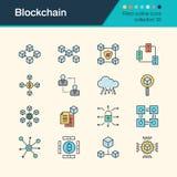 Icônes de Blockchain Collection remplie 35 de conception d'ensemble Pour prese Photographie stock