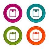 Icônes de boîte de la livraison Signes de carton d'expédition Symbole d'achats Bouton coloré de Web avec l'icône illustration libre de droits