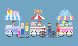 Icônes de Boothes de coton de crème glacée, de hot dog et de sucrerie Photo libre de droits