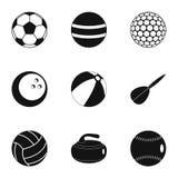 Icônes de boule réglées, style simple Photos stock