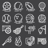 Icônes de boules de sports réglées sur Gray Background Vecteur illustration de vecteur