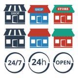 Icônes de boutique et de magasin sur le fond blanc Photo stock