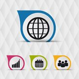 Icônes de bulle de la parole d'affaires - d'isolement sur Diamond Shaped Pattern Background sans couture illustration de vecteur