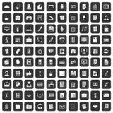 100 icônes de bureau réglées noires illustration de vecteur