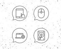 Icônes de carnet, de lecteur de disque dur et de tablette illustration de vecteur