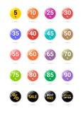 Icônes de cercle de remise de vente Signes des prix d'offre spéciale De 5 à 90 pour cent outre des symboles de réduction Insignes illustration libre de droits