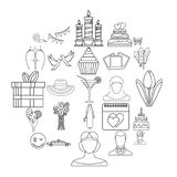 Icônes de chance de femmes réglées, style d'ensemble illustration stock