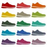 Icônes de chaussure de sport réglées Images stock