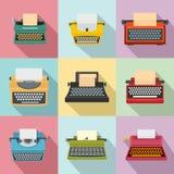 Icônes de clés de machine de machine à écrire les vieilles ont placé, style plat illustration stock