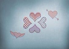 icônes de coeur d'amour avec le fond bleu Photographie stock