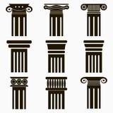 Icônes de colonne Ensemble de piliers antiques d'architecture Vecteur Images libres de droits