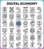 Icônes de concept d'économie de Digital illustration de vecteur