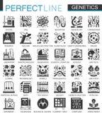 Icônes de concept de noir de la génétique de biochimie mini et ensemble de symboles infographic illustration libre de droits