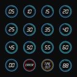 Icônes de conception d'horloge de minuterie de compte à rebours de Digital Photographie stock libre de droits