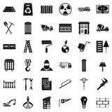 Icônes de construction de bâtiments réglées, style simple illustration libre de droits