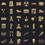 Icônes de construction de bâtiments réglées, style simple illustration stock