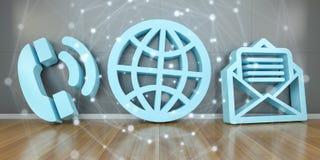 Icônes de contact dans le rendu moderne de l'intérieur 3D Images libres de droits