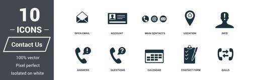 Icônes de contactez-nous réglées Collection de la meilleure qualité de symbole de qualité Contactez- quenous l'icône a placé les  illustration libre de droits