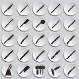 Icônes de couteaux réglées sur le fond de plats pour le graphique et la conception web Signe simple de vecteur Symbole de concept illustration stock
