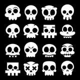 Icônes de crâne de bande dessinée de vecteur de Halloween, Sugar Skulls Design Set mignon blanc mexicain Photos stock
