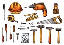 Icônes de croquis de vecteur des outils de travail illustration de vecteur